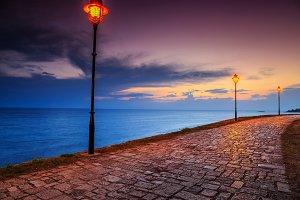 Romantic promenade with sunset