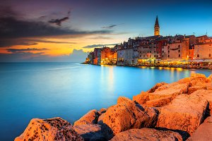Colorful sunset with Rovinj old town