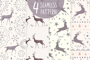 Seamless pattern deer