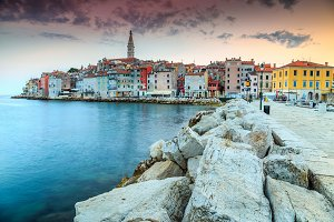 Colorful sky with Rovinj old town