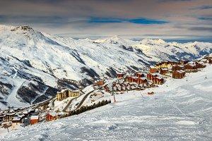Winter landscape and ski resort