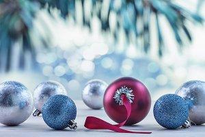 Multi-colored Christmas balls.