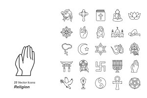 Religion outlines vector icons