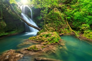 Amazing waterfall is the forest
