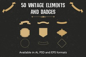 [Only 2$] 50 Vintage elements/badges