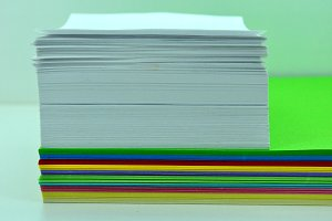 piled color sheets
