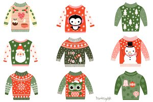 Cute ugly Christmas sweaters clipart