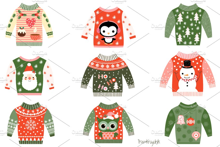 Ugly christmas sweater red. Cute sweaters clipart