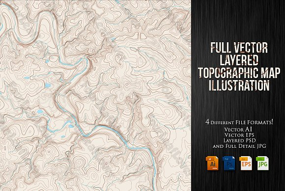 Vector Topographic Maps in Illustrations