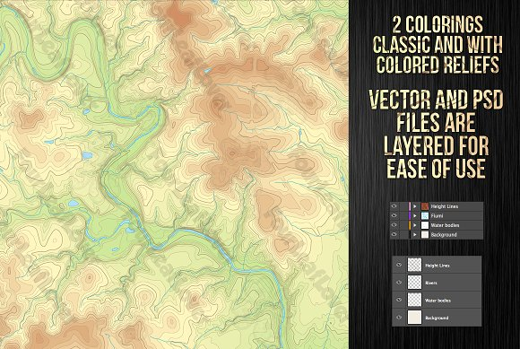 Vector Topographic Maps in Illustrations - product preview 1