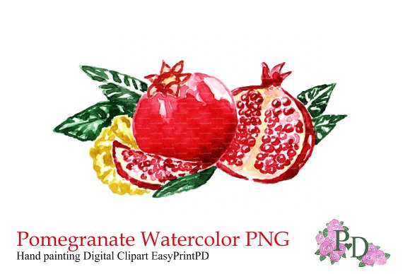 Pomegranate Fruit Clipart PNG ~ Illustrations on Creative ...