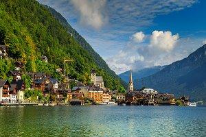Historic village and alpine lake