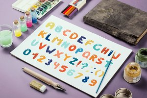 Colorful alphabet in doodle style