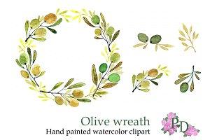 Olive Wreath watercolor clip art