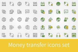 Money transfer icon set