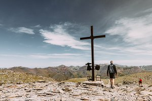 Man next to the cross