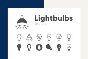 Lightbulbs line icons