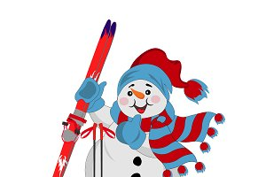 snowman with skis and scarf