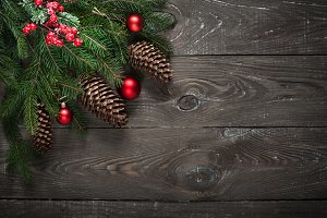 Christmas decorations present fir tree branch