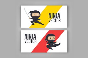 Set of ninja characters actions.