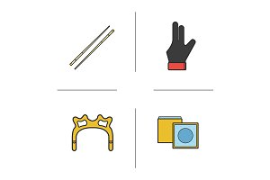 Billiard accessories 4 icons. Vector