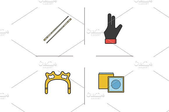 Billiard accessories 4 icons. Vector - Icons