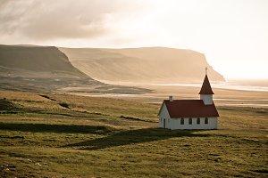 Icelandic Church at Sea Coastline