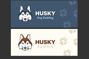 Husky head flat logo vector set.