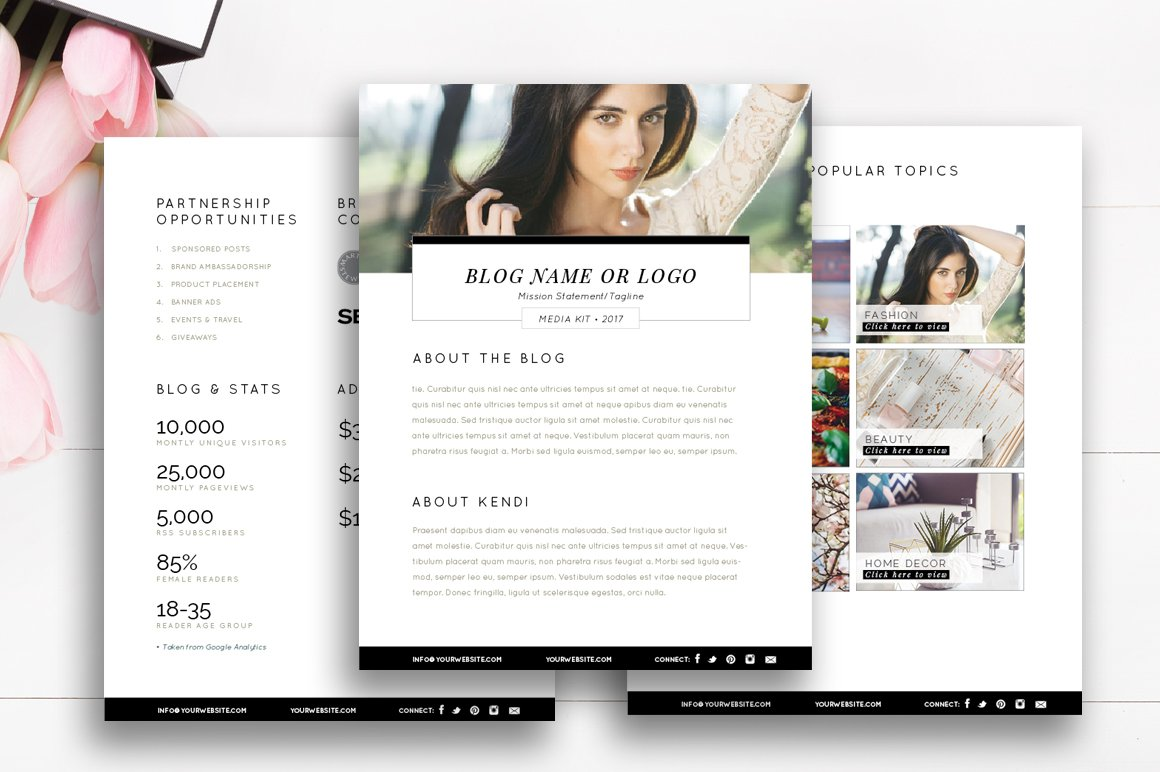 Blogger media kit template 3 pages stationery for Advertising media kit template