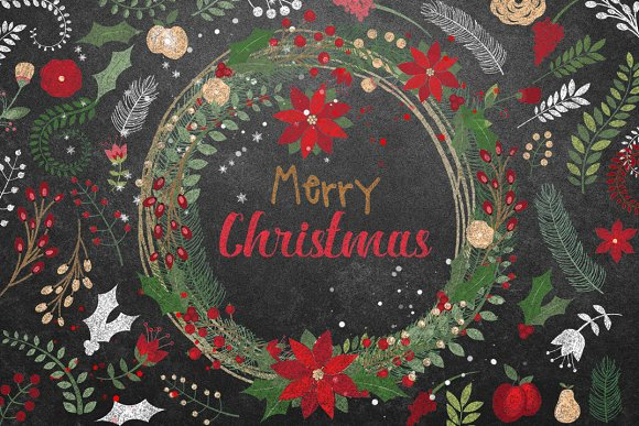 Chalkboard Botanical Christmas