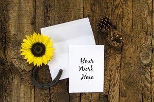 Rustic Sunflower Invitation Mockup 1
