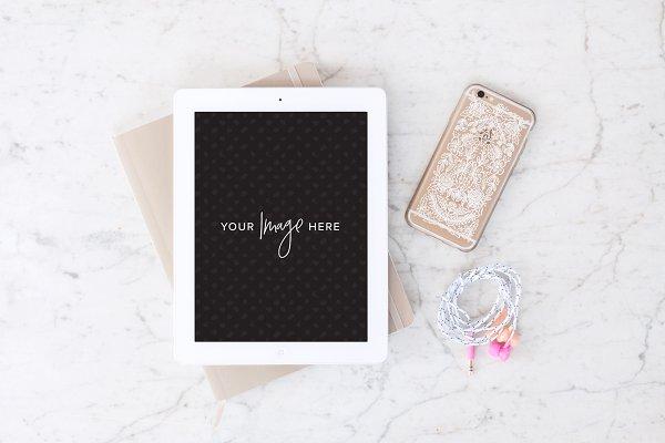 Stock Photo | iPad, iPhone, marble