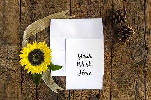 Rustic Sunflower Invitation Mockup 2