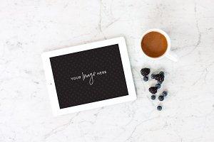 Stock Photo | iPad, coffee, marble