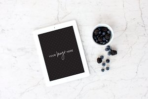 Stock Photo | iPad, berries, marble