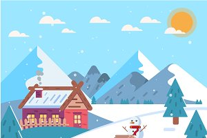 Winter Landscape. Vector design