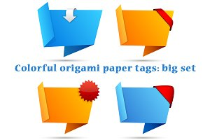 Colorful origami paper tags: big set