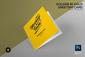 Square Greeting Card Mock up Temp.