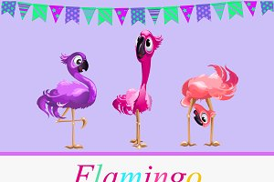 Funny Flamingo and colorful eggs
