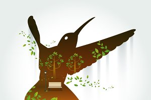 Silhouette of hummingbird with park