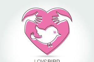 preserve bird with hug in heart
