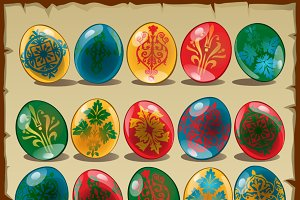 Colorful Easter eggs with pattern