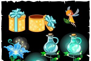 Magical plants and potion flasks
