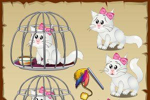 Fluffy white cats