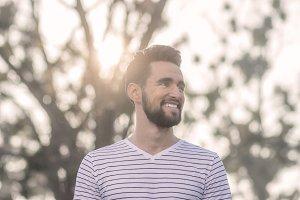 man head face smiling sun sunnny