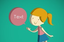 cute girl cartoon Text Box