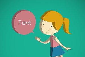 cute girl cartoon Text Box