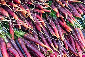 Red carrots at the market