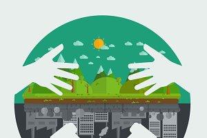 Eco friendly hands hug concept