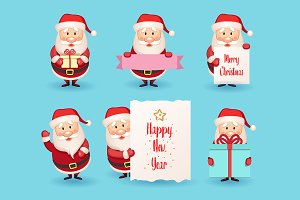 Set of cute cartoon Santa Claus